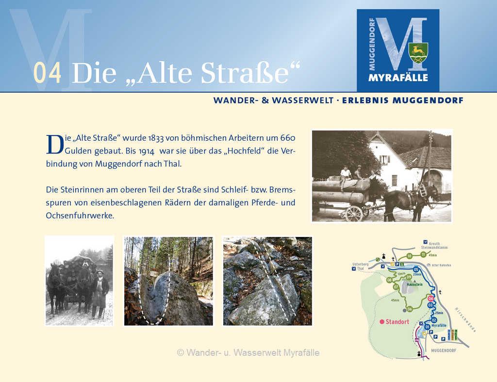 """Informationstafel zur 4. Themenstation """"Alte Straße"""""""