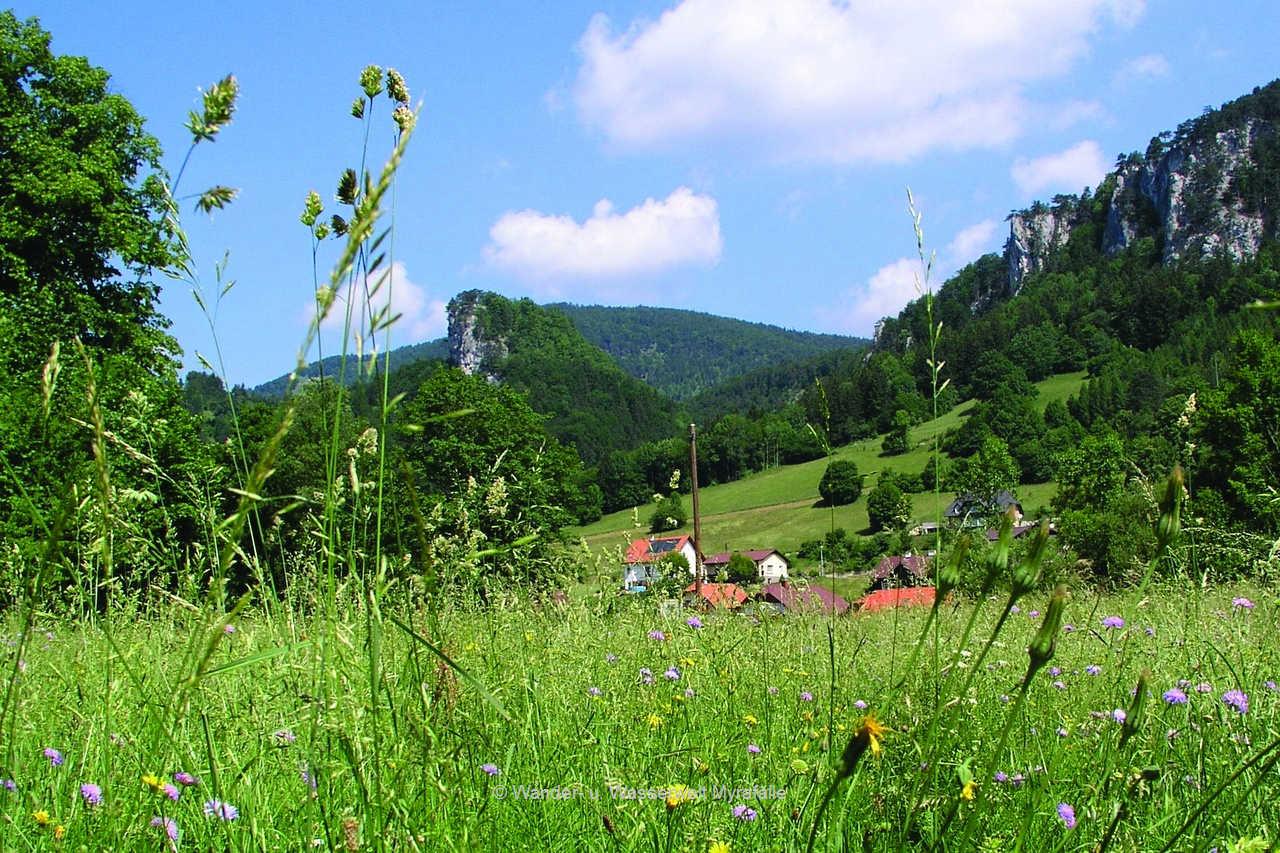 Der Hausstein (Bildmitte), rechts beginnen die Hirschwände, davor ein paar Häuser von Muggendorf